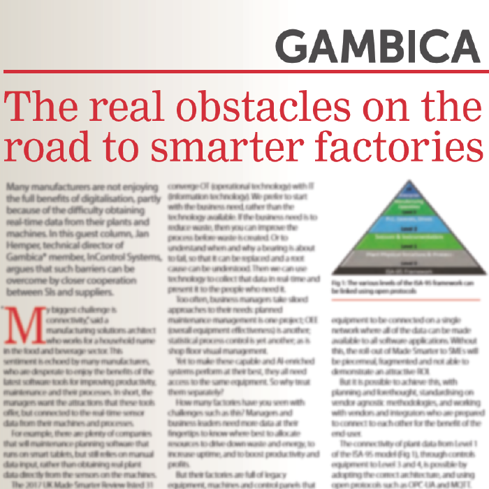Gambica Featured Article: The real obstacles on the road to smarter factories